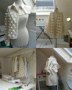 Alexandra Verschueren, Royal Academy of Fine Arts Antwerp, Fashion Graduate beautiful manipulation Techniques Couture, Textiles Techniques, Sewing Techniques, Fashion Fabric, Fashion Art, Fashion Design, Pattern Cutting, Pattern Making, Moda Origami