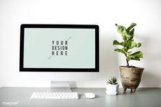 Computer monitor screen mockup on a desk Free Psd Computer Mockup, Billboard Mockup, Monitor, Workspace Desk, Photoshop, Instagram Post Template, Desk Set, Business Design, Web Design
