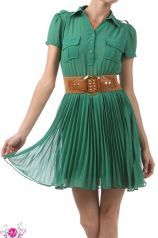 Green Button Down Dress with Pleated Skirt
