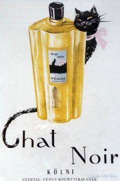 Advertising, Poster Chat Noir perfue, cent, with black cat Pierre Balmain, Black Cat Art, Black Cats, Marie Claire, Budapest, Nostalgia Art, Pub Vintage, Socialist Realism, Cat Makeup