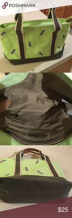 """LL Bean Tote bag Used Excellent condition! LL Bean Tote bag in canvas, cotton and leather trim. Lime green, Olive green, Cream and Embroidered Purple Dragon Flies. Super Cute! Zipper closure compartment with key clip and zipper pocket. 5"""" handle drop LL Bean Bags Totes"""