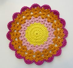 Fantastic, easy to follow mandala/doily tutorial! Great for beginner crocheters and demonstrates an easy way to do color changes in round projects. Love love love.