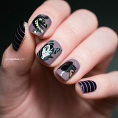If you're in love with your nails, check out some awesome nail art, disney nail art designs, some awesome nail art designs, amazing nail art designs and some simple nail art designs. Disney Inspired Nails, Disney Nails, Simple Nail Art Designs, Beautiful Nail Designs, Cute Nails, Pretty Nails, Maleficent Nails, Nailart, Maroon Nails