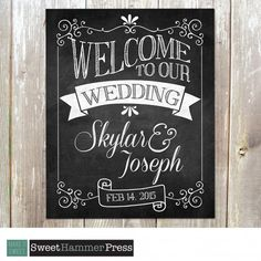 Welcome to Our Wedding Chalkboard Sign. Customized for you. 8 x 1 ...