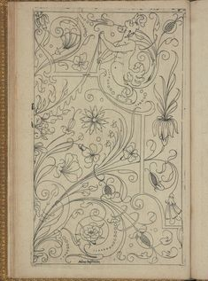 New Modelbüch (Page Andreas Bretschneider. Crewel Embroidery, Vintage Embroidery, Embroidery Patterns, Creative Embroidery, Boarder Designs, Art Nouveau Illustration, Pattern Coloring Pages, Book Of Kells, Sewing Art