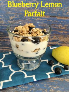 Blueberry Lemon Parfait topped with crunchy granola ~ a cool and refreshing summer snack or breakfsat recipe from 5DollarDinners.com