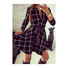 Long Sleeve Plaid Print Belted Dress (£15) ❤ liked on Polyvore featuring dresses, black, black plaid dress, long sleeve black dress, long sleeve a line dress, mini dress and collar dress