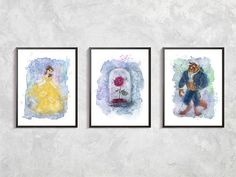 Beauty and Beast Set Print, Belle and Beast, Disney wall decor, Disney Watercolor, Disney Art Print, Belle Beast Rose decor, Belle and Rose