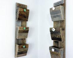 decorative wall mount magazine rack | Wall Mail Organizer | Now w. Size Options | Reclaimed Wood Wall ...
