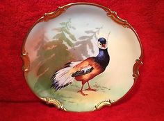 Antique+Limoges+Cabinet+or+Wall+Plaque+Hand+Painted+Artist+Signed+Game+Bird+L196