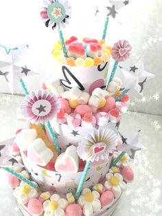 Sweet Candy Cake - Clara Wish Candy Birthday Cakes, Candy Cakes, Sweetie Cake, Marshmallow Cake, Sweet Carts, Sweet Box, Candy Party, Birthday Crafts, Candy Colors