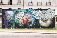 Bom.K x Brusk In Nantes, France After having Seth x Kislow (covered) and Alexone last week (covered), the city of Nantes welcomed Bom.K and Brusk for the 9th iteration of Histoire D'un Mur. In just a few hours, the duo from DMV painted an epic piece featuring 4 different portraits combining each artist's distinctive style and imagery.