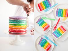 A rainbow cake is fun to look at and eat and a lot easier to make than you might think. Here's a step-by-step guide for how to make a rainbow birthday cake. Decoration Communion, Sweet Recipes, Cake Recipes, Rainbow Layer Cakes, Cake Rainbow, Rainbow Sherbet, Rainbow Theme, Rainbow Baby, Yummy Treats