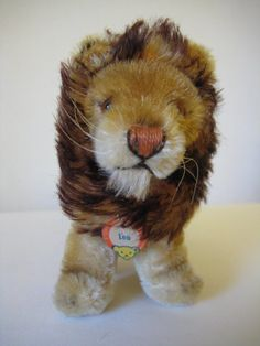Steiff Vintage Mohair Sitting Leo Lion - Mid-Century - 1956 to 1971 - Glass Eyes and Bear Face Chest Tag - King of the Teensy Jungle Leo Lion, Bear Face, Etsy App, Teddy Bears, All Pictures, Puppets, Two By Two, Mid Century, King