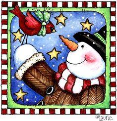 laurie furnell - snowman & bird
