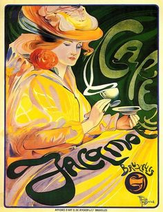 Cafe Jacamoe by Ferdinand Toussaint Vintage French Poster Wall Art giclee quality reprodu Vintage French Posters, Vintage Travel Posters, French Vintage, Art Nouveau Mucha, Art Nouveau Poster, Band Logo Design, Cafe Posters, French Art, French Style