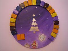 Adventkalender auf Keilrahmen - lila Advent, Art, Canvas Frame, Wedges, Calendar, Homemade, Craft Art, Kunst, Gcse Art