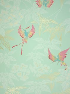 Grove Garden Wallpaper  An exotically coloured hummingbird darting between foliage, named after the tropical bird garden outside Kells in County Meath.