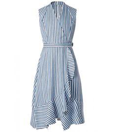 Ruffled Asymmetric Dress in Blanc/Bleu - Dresses Zara Dresses, Casual Dresses, Fashion Dresses, Summer Dresses, Silk Satin Dress, Satin Dresses, Semi Formal Outfits, Dress Skirt, Dress Up