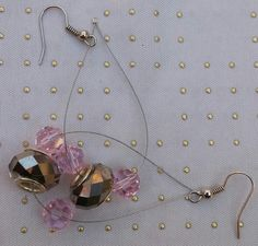 Pink Earrings, Pink & Silver Earrings Hand Beaded, Features Swarovski Crystal Elements, Tear Drop Style by RivieBoutique on Etsy