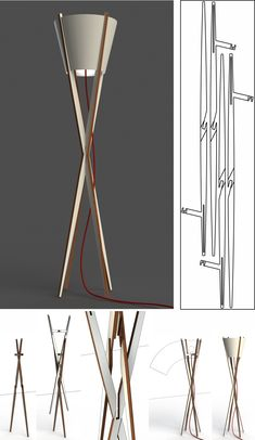floor lamps for living room ideas Steel Furniture, Diy Furniture, Woodworking Furniture, Woodworking Projects, Lamp Design, Lighting Design, Diy Floor Lamp, Industrial Floor Lamps, Budget Organization
