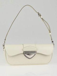 Louis Vuitton White Epi Leather Montaigne Clutch Bag