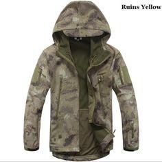 Men Tactical Jacket Hard Shell Sport Outdoor Military Waterproof Windproof Coat