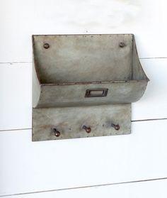 Galvanized Mail Bin with Key Keeper