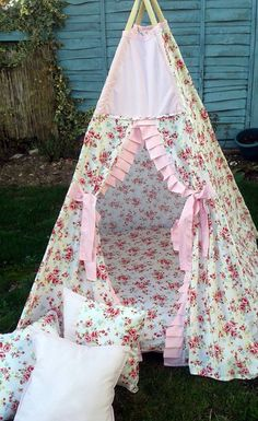 Floral Teepee by LillianaDesignsUK on Etsy Scatter Cushions, Floor Cushions, Floral Fabric, Pastel Pink, Cushion Covers, Bespoke, Baby Car Seats, Handmade, Etsy