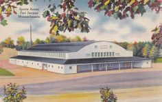 Sports Arena, Fort Devens, Massachusetts - Vintage Linen Postcard - Unused (Y)