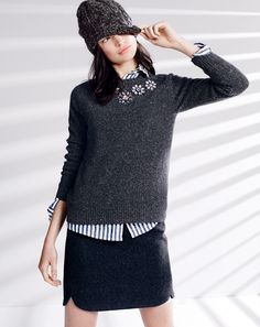 J.Crew jeweled Donegal sweater and shirttail mini skirt.