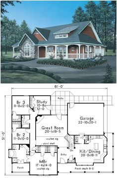 This country house plan is charming, with its stone-and-siding facade, wraparound porch, and shed-roof dormer. Entry from the covered front porch leads to the foyer, flanked by the kitchen and dining area and the great room with vaulted ceiling and fireplace. The master bedroom also features a vaulted ceiling, in addition to two walk-in closets, private bath, and access to a separate covered porch. Three additional bedrooms, two of them with walk-in closets, share the second bathroom