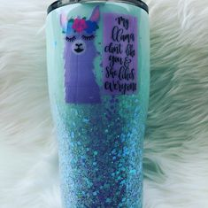 MY llama don't like you and she likes everyone stainless steel double wall thermal insulated tumbler - ships free in the USA Insulated Tumblers, Red Bull, Like You, Cool Stuff, Drinks, Cool Things, Drinking, Beverages, Drink