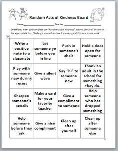 Confessions of a School Counselor. Random acts of Kindness Ideas.