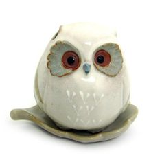 Shoyeido HandCrafted Ceramic Baby Owl Incense Burner @ KnowFengShui.com
