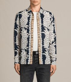 AllSaints New Arrivals: Ananas Shirt. Nothing says summer like our Hawaiian Shirts, the Ananas Shirt comes printed with one of our boldest prints yet. Featuring an open camp collar that can be fastened with a loop at the top button.