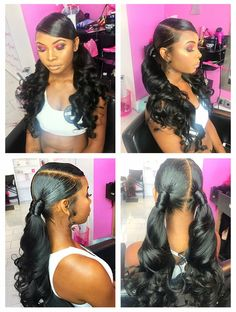 Two Ponytails HairNailsAnd Style Done By Tynisha Hair Nails - two ponytail hairstyles ponytail hairstyles fancy Two Ponytail Hairstyles, Two Ponytails, Ponytail Styles, Baddie Hairstyles, Black Girls Hairstyles, Weave Hairstyles, Pretty Hairstyles, Curly Hair Styles, Natural Hair Styles