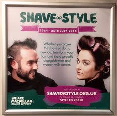 Here the well known cancer support charity, Macmillan, go out with a recruitment drive for their 'Shave or Style' fundraising even which runs between the 19-25th July. They are directing people to their website to sign up but also offering a chance to donate by text message as an alternate route. #charity #train #advert #shaveorstyle #macmillan