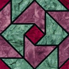 Stained Glass Whirlaround Quilt Block Pattern