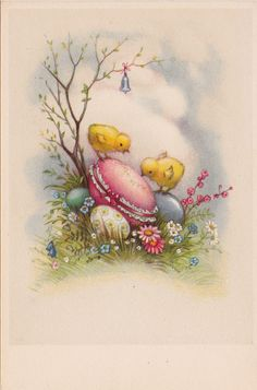 Vintage Easter card with colored eggs and baby chicks, bought in Belgium, via the In and Around Our House blog.
