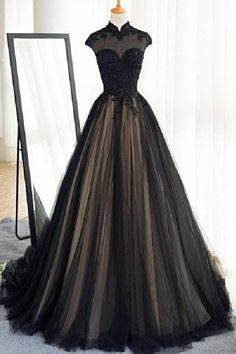 A-line prom dresses, black prom dresses, high neck prom dresses, applique prom dresses, evening dresses, formal dresses, party dresses#SIMIBridal #promdresses
