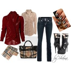 Amazing sweater and Burberry boots to die for!, created by shauna-rogers on Polyvore