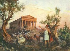 Odysseus in front of temple of Athena, Jan Styka