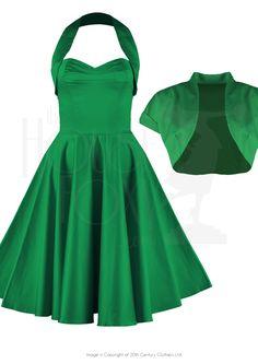 1950s Halter Swing Dress & Bolero in Emerald Sateen