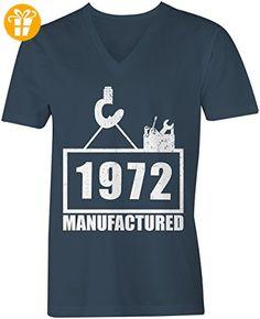 Manufactured 1972 - V-Neck T-Shirt Männer-Herren - hochwertig bedruckt mit lustigem Spruch - Die perfekte Geschenk-Idee - Shirts mit spruch (*Partner-Link)