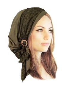 Olive Green Head Scarf Boho Chic Pre Tied Bandana Tichel Hair Snood Chemo  Head Scarf Hat Floral Lace Handmade Coconut Buckle ShariRose - 131 305edfdb3918
