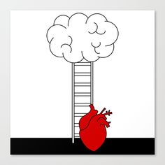 Frameless Canvas Prints with climb up the ladder by Alice Vacca #brain #human #heart #concept #climb #stairs #ladder #love #feeling #romantic #mind #frameless #canvas #print #art #home #decor