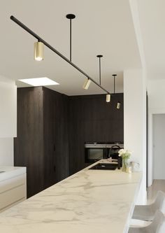 Proper home lighting design can go a long way toward enhancing the overall appearance of your property, both on the … Modern Track Lighting, Modern Kitchen Lighting, Linear Lighting, Modern Kitchen Design, Cool Lighting, Kitchen Track Lighting, Salon Lighting, Kitchen Ceiling Lights, Ceiling Lighting