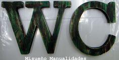"""Taller infantil """"letras vintage"""" con pintura acrílica en verdes.  www.misuenyo.com / www.misuenyo.es Decoupage, Home Decor, Lyrics, Pintura, Manualidades, Decoration Home, Room Decor, Interior Decorating"""