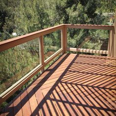 IPE Wood Balcony With Glass Railing Design Ideas, Pictures, Remodel, and Decor – Glass Balcony Ideas – Balcony Decor Ideas Glass Balcony Railing, Wood Deck Railing, Balcony Railing Design, Deck Design, Glass Roof, Modern Balcony, Small Balcony Decor, Balcony Ideas, Balustrades